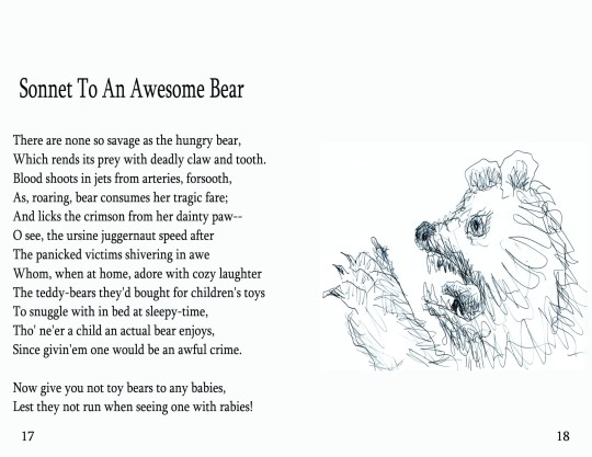 "No. 7  ""Sonnet To An Awesome Bear"""